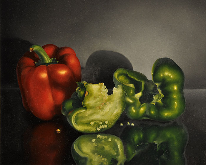Red and Green Peppers by Cheryle Rol
